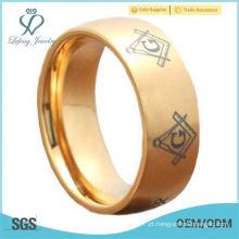 Meia lua titânio anel de ouro IP maçônico signet escova homens de casamento faixa