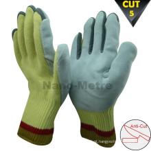 NMSAFETY amarelo cut resistente luvas couro palma swed corte nível 5