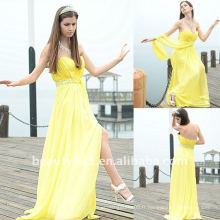 Astergarden photo réelle bretelles en mousseline de soie jaune coutures douces Frock Design Dress AS118