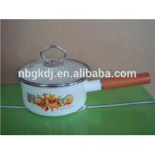 enamel Ceramic Sauce Pan with Glass Lid and wooden Handle