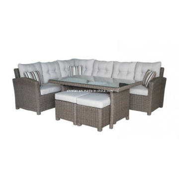 Jardin osier causale salon canapé meubles en rotin extérieur Set