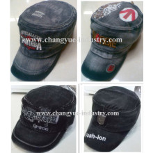 Jeans washed design fashion flat top military cap hat supplier