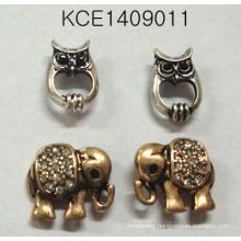 Set Elephant Owl Earrings with Metal