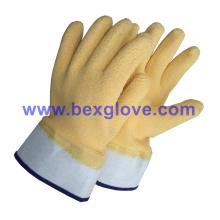 Baumwoll-Jersey-Liner, Baumwoll-Sicherheits-Cuff, Latex-Beschichtung, Ripple Styled Crinkle Finish