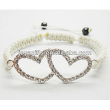Aleación de plata de doble corazón con pulsera de diamante shambala