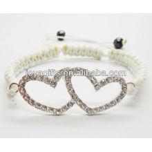 Silver double heart alloy with diamante shambala bracelet