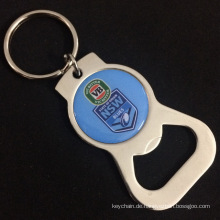 Zinc Alloy Bottle Opener Keyring with Custom Offset Printing Logo for Promotion