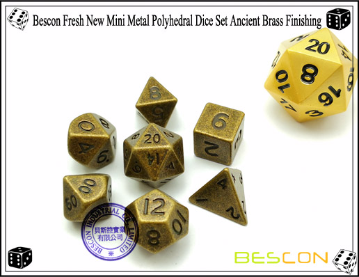Bescon Fresh New Mini Metal Polyhedral Dice Set Ancient Brass Finishing-1