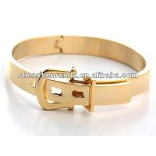 Design exclusivo para fashionistas em aço inoxidável banhado a ouro pulseira