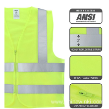 High Visibility Safety Vest meet ANSI Standard Neon Yellow