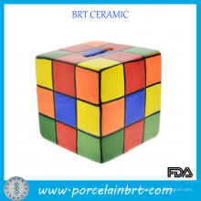 Colorful Rubik′s Cube Square Money Keeper Ceramic Coin Box