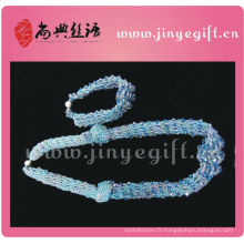 Shangdian Jewelry Sapphire Cyrstal Collier Perles Crochet