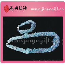 Shangdian Jewelry Sapphire Cyrstal Necklace Beads Crochet