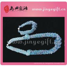 Jóias Shangdian Sapphire Cyrstal Colar Beads Crochet