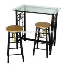 Mesa de bar de vidrio y sillas muebles de bar conjunto