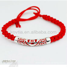 Charm red braided rope bracelet with 925 silver
