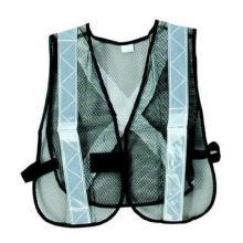 Black Mesh Safety Vest with White Reflective Strip
