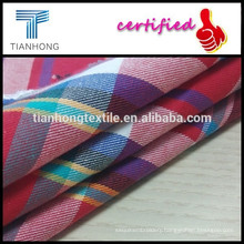 100%Cotton yarn dyed fabric/combed cotton for short/cotton check fabric/twill weaving