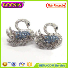 Broche de esmalte de cisne de cristal de moda de aleación de metal Ouzel # 573