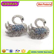 Metal Alloy Fashion Crystal Swan Enamel Brooch Ouzel #573