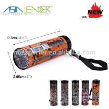 Color Glow Torch 9 led Mini Cheap Aluminum Led Flashlight