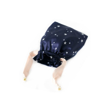 full star logo printing dark blue satin bag hair
