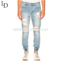 New fashion design damaged pants ripped trousers distressed jeans for men