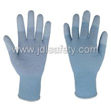 Work Glove with PU Finger Top and PVC Mini Dots (PN8017)
