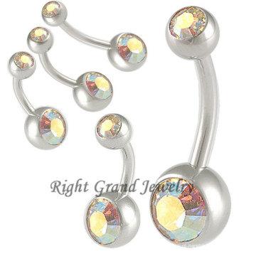 Anéis de umbigo de cristal Hypoallergenic moda AB