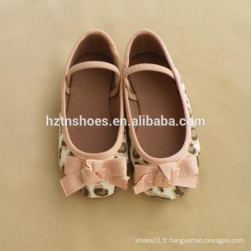 Big bow ballet matériel de toile de léopard filles chaussure élastique bande école chaussures plates