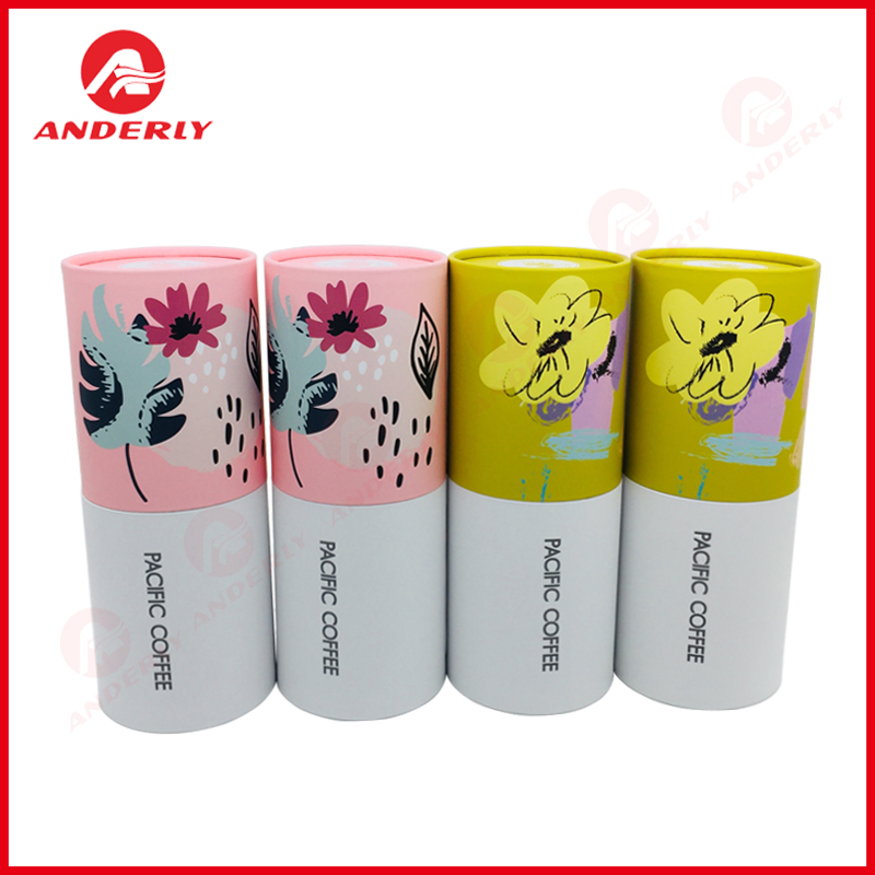 White Cardboard Tube For Gift Tea Coffee Packaging