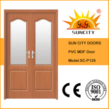Modern Double Wooden PVC MDF Doors with Glass Window (SC-P129)