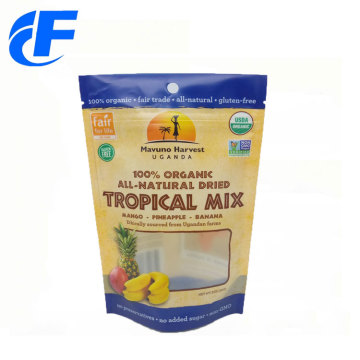 Custom snack food packaging pouch bags with zipper