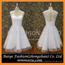 2016 v-neck veja através de trás sexy curto mini vestido de casamento branco