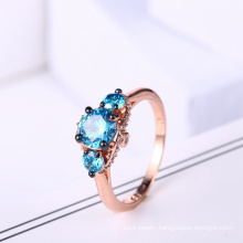 2018 latest design coper jewelry 925 silver ring with blue stone