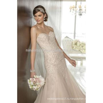 Новое Прибытие Русалка свадебное платье милая спинки с длинным шлейфом 2014 полностью бисером платье NB020 для новобрачных