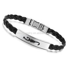 2015 bracelete de couro novo da jóia da forma e wristband P502 do revestimento do bracelete do encanto do projeto do aço inoxidável
