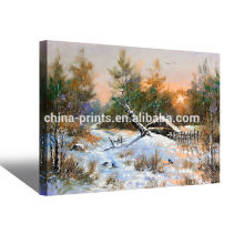 Customized Winter Scenery Oil Painting On Fabric
