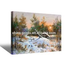 Индивидуальные зимние пейзажи масляной живописи на ткани