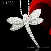 925 Sterling Silver Jewelry Micro Pave Dragonfly Pendant