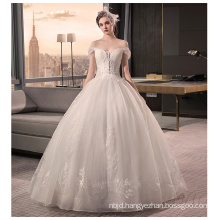 2017 Luxury China Vintage Lace Off-shoulder Appliqued Ball Gown Puffy Wedding Dress