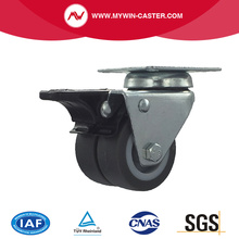 2 inch swivel braked twin wheel TPR industrial caster