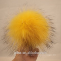 New Arrival Genuine Fur Accessories Fur Pom Poms Wholesale Yellow Raccoon Genuine Fur Fluffy 12cm Ball Keychain