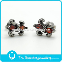 TKB-0085 High Polish Stainless Steel Studs Earrings Punk Cubic Zirconia Men's Knight Fleur De Lis Jewelry