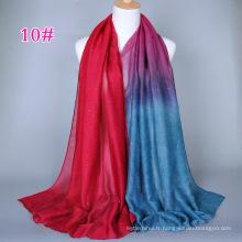 Multicolor gradient couleur fille paillettes Pakistan hijab châle sacrf en gros