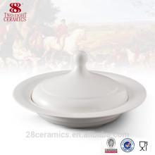 Soupière en céramique à la main en gros, bol en céramique blanche avec couvercle