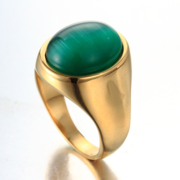 New product Fashion green gem gold ring