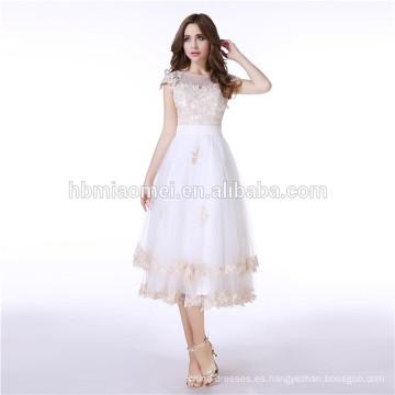 Vestido bordado 2017 de la manga larga de las señoras Vea a través del vestido de noche largo de la princesa White Maxi