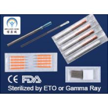 Cobre, Plata, Mango de acero Agujas de acupuntura CE FDA GMP Estándar