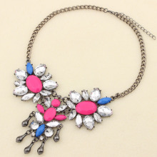 Newest Fashion Metal Statement Choker Necklace Candy Color Flower Resin stone For Wedding Women Party Jewelry